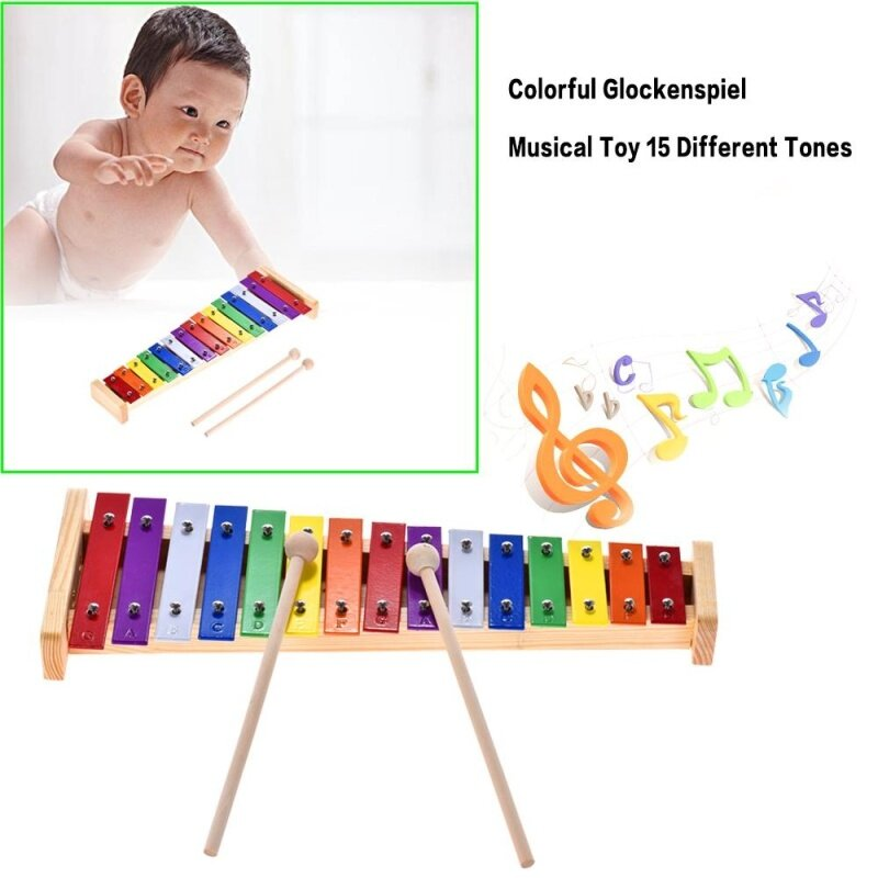 Colorful Glockenspiel Xylophone Wooden & Aluminum Percussion Musical Instrument Educational Toy 15 Tones with 2 Mallets for Baby Kids Children Malaysia