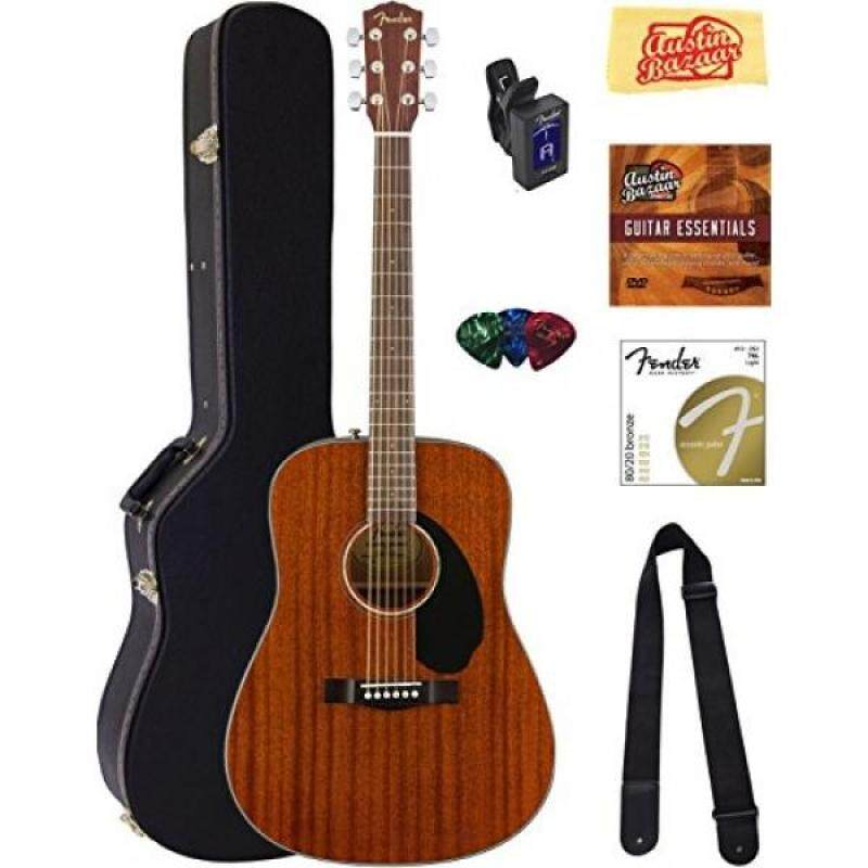 Fender CD-60S Dreadnought Acoustic Guitar - All Mahogany Bundle with Hard Case, Tuner, Strap, Strings, Picks, Austin Bazaar Instructional DVD, and Polishing Cloth Malaysia