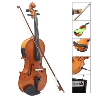 Full Size 4/4 Violin Natural Acoustic Solid Wood Spruce Flame Maple Veneer Violin Fiddle for Beginner with Case Rosin Wiper Gift