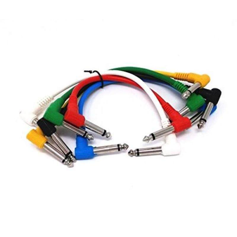 Honbay 6pcs Different Color Guitar Pedal Cords Classic Series Instrument Effects Cable with Right Angle Plug Malaysia