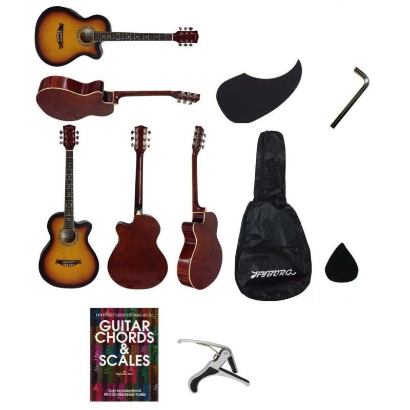 Hyburg Acoustic Guitar 39 Inch(Brown)+Bag+Allen Key+Pick+Pickguard+Book+Capo Malaysia