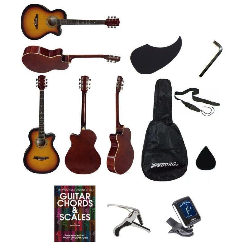 Hyburg Acoustic Guitar 39 Inch(Brown)+Bag+Allen Key+Pick+Pickguard+Book+Capo+Tuner+Strap Malaysia