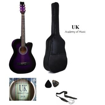 Harga UK Acoustic Guitar 38 Inch (Purple)+Bag+2 Picks+Strap