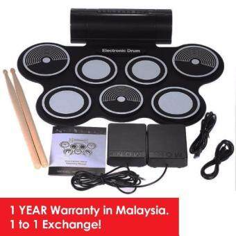 Harga [1Year Warranty]Taloha 7-Pad Portable Electronic Multifunctional Flexible Digital Drum with Speakers+Pedals+Free Drum Sticks