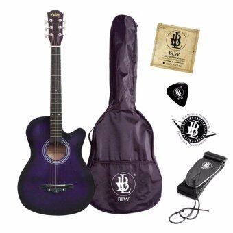 Harga Mukita by BLW Acoustic Folk Cutaway Guitar 38 Inch Package 4 with Bag, Pick, Strings, Strap and Sticker (Purple)
