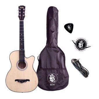 Harga Mukita by BLW 38 Inch 6 strings 2 Equalizer Acoustic Electric Pre amp Guitar with Bag, Pick & Cable (Natural)