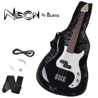 Harga Taloha NEON Electric Bass Guitar (Black) with full set accessories