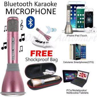 Harga K068 Wireless Microphone with Bluetooth Mic Speaker Mini Karaoke Player KTV Singing Record 2016 New Stereo for Smartphones - Rose Gold