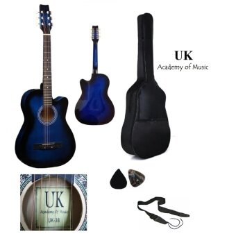 Harga UK Acoustic Guitar 38 Inch (Blue)+Bag+2 Picks+Strap