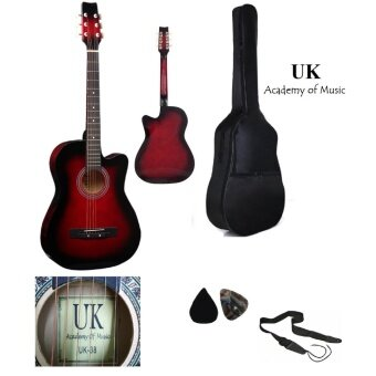 Harga UK Acoustic Guitar 38 Inch (Red)+Bag+2 Picks+Strap