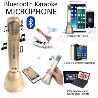 Harga KTV K068 Wireless Microphone with Bluetooth Mic Speaker Mini Karaoke Player KTV Singing Record 2016 New Stereo for Smartphones - Gold