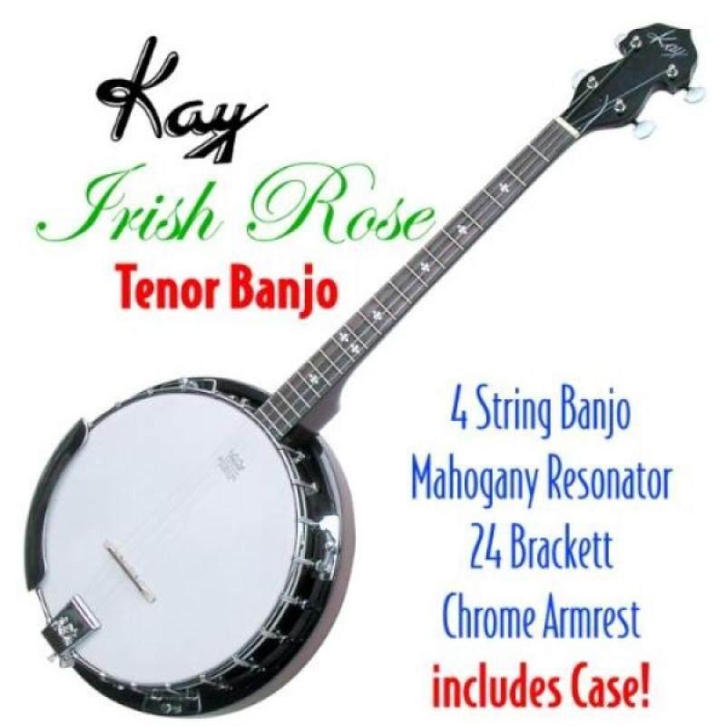 Kay KBJ40 W/C Tenor 4 String Irish Rose Banjo with Hardshell Wood Case Malaysia