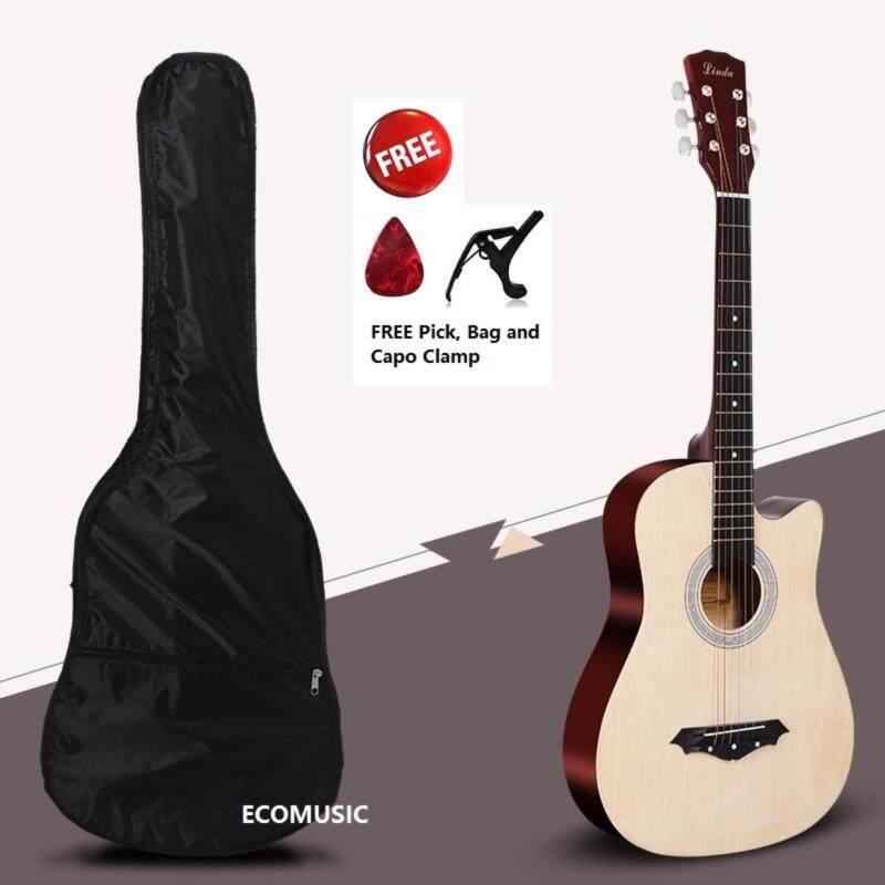 MEGA SALES ECOMusic Acoustic Folk Cutaway Guitar 38 Inch FREE Guitar Bag+Capo Clamp+Pick Malaysia