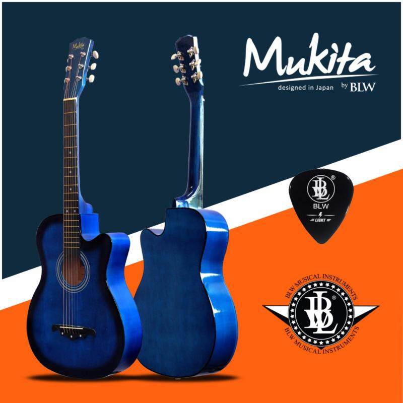Mukita by BLW Standard Acoustic Folk Cutaway Basic Guitar 38 Inch for Beginners Comes with Guitar pick and BLW Merchandise Sticker (Blue) Malaysia