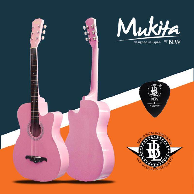 Mukita by BLW Standard Acoustic Folk Cutaway Basic Guitar 38 Inch for Beginners Comes with Guitar pick and BLW Merchandise Sticker (Pink) Malaysia