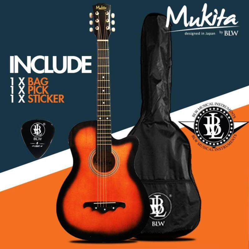 Mukita by BLW Standard Acoustic Folk Cutaway Basic Guitar 38 Inch for Beginners Comes with Guitar pick and BLW Merchandise Sticker (Sunburst) Malaysia