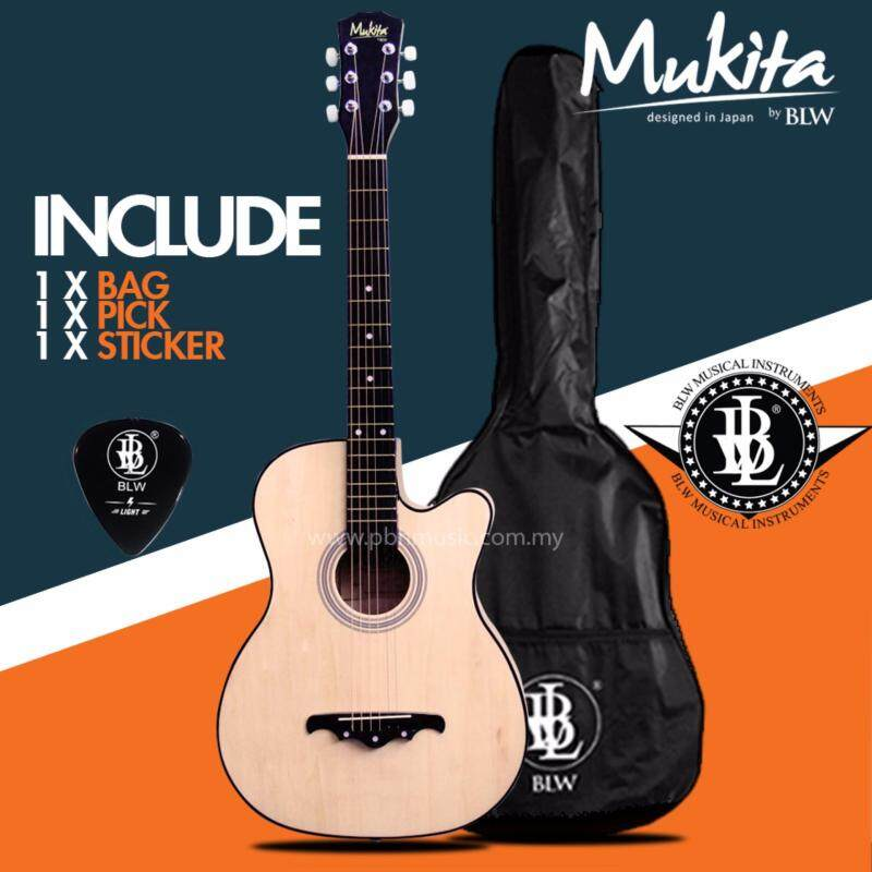 Mukita by BLW Standard Acoustic Folk Cutaway Basic Guitar Package 38 Inch for beginners with Bag, Pick and Merchandise Sticker (Natural) Malaysia