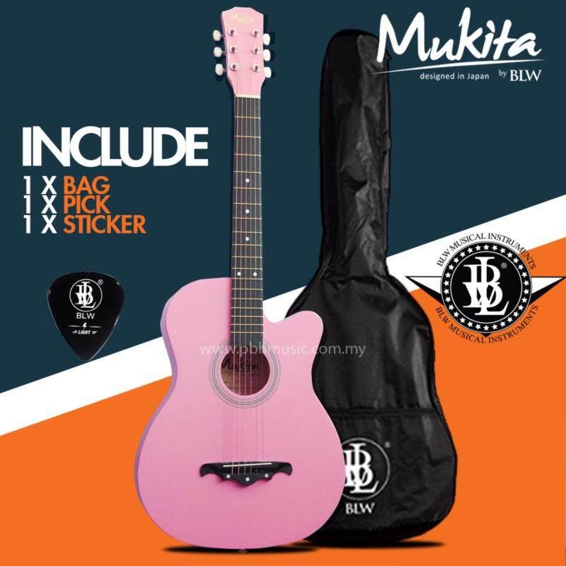 Mukita by BLW Standard Acoustic Folk Cutaway Basic Guitar Package 38 Inch for beginners with Bag, Pick and Merchandise Sticker (Pink) Malaysia