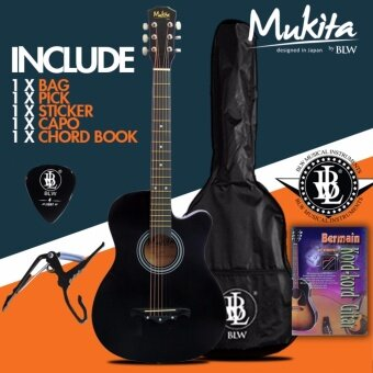 Mukita by BLW Standard Acoustic Folk Cutaway Basic Guitar Package 38 Inch for beginners with Bag, Pick, Capo, Chord Book and Merchandise Sticker (Black)
