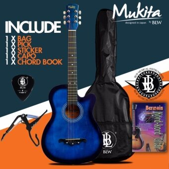 Mukita by BLW Standard Acoustic Folk Cutaway Basic Guitar Package 38 Inch for beginners with Bag, Pick, Capo, Chord Book and Merchandise Sticker (Blue)