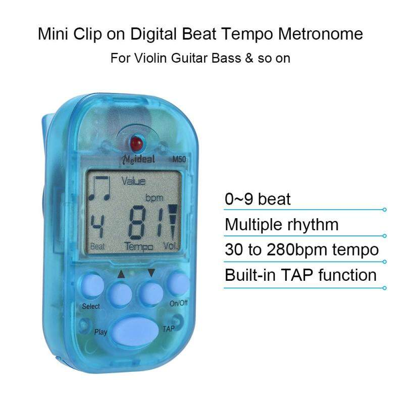 Professional Clip on Digital Beat Tempo Metronome LCD Screen Lightweight & Mini for Violin Guitar Bass Musical Instrument Blue Malaysia