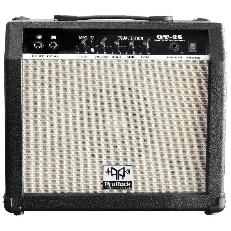 ProRock 25 Watt 2 inputs Electric Guitar Amplifier with Equalizer and Gain Overdrive Effect Amp (Black) Malaysia