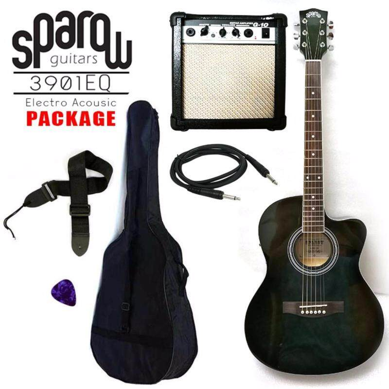 Sparow 39 inch Electro Acoustic Guitar Package colour ShadowBlack with 10w Guitar Amplifier (FOC Non Padded Bag,Cable, Pick & Strap) Malaysia
