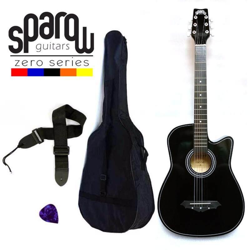 Sparow SPZero Beginners Acoustic Folk Cutaway Guitar 38 Inch (Black) Free Bag/Strap/Pick Malaysia
