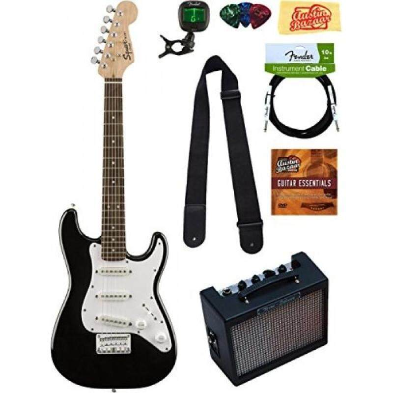 Squier by Fender Mini Strat Electric Guitar Bundle with Amplifier, Cable, Tuner, Strap, Picks, Austin Bazaar Instructional DVD, and Polishing Cloth - Black Malaysia