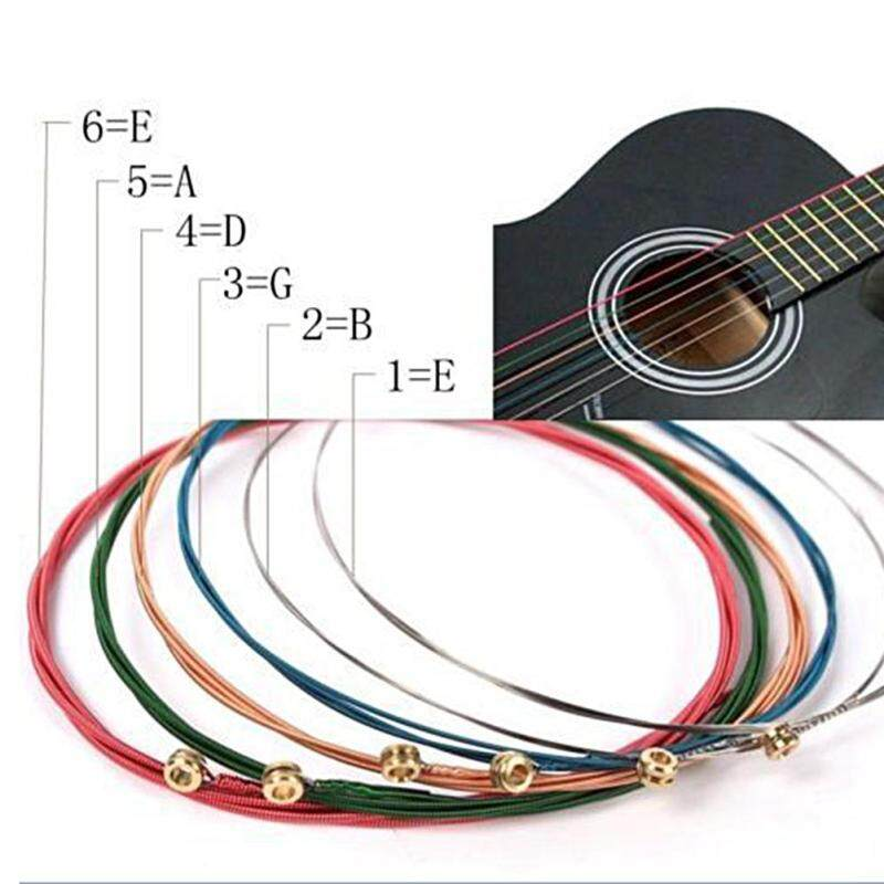 Sunshop One Set 6pcs Rainbow Colorful Strings For Acoustic Guitar Accessory Malaysia