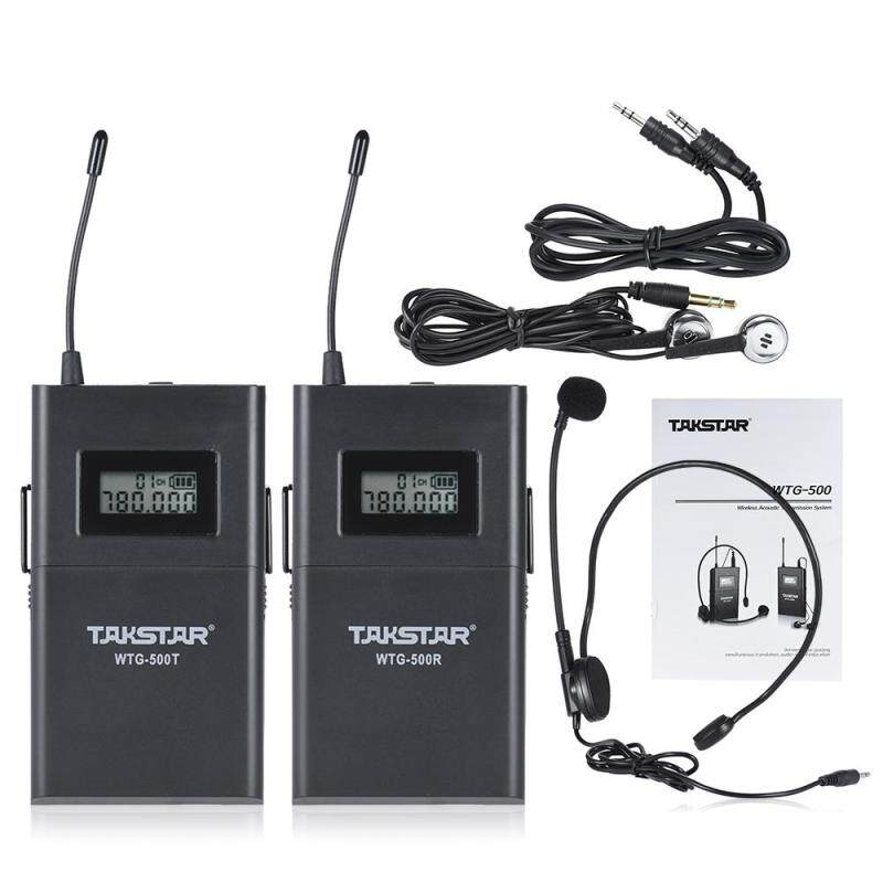 TAKSTAR WTG-500 UHF Wireless Acoustic Transmission System (Transmitter + Receiver) 100m Effective Range 6 Selectable Channels LCD Display with Lavalier Microphone Earphone 3.5mm to 3.5mm Conversion Cable Malaysia