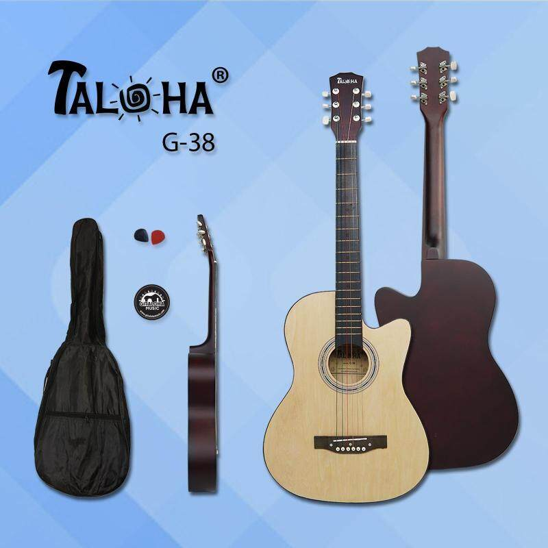 Taloha Acoustic Cutaway Matte Guitar 38-inch Essential Package with Bag, Sticker and 2 Picks (Natural) Malaysia