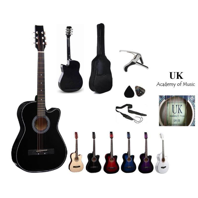 UK Acoustic Guitar 38 Inch (Black)+Bag+2 Picks+Strap+Capo Malaysia