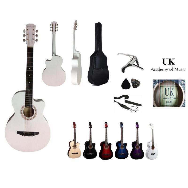 UK Acoustic Guitar 38 Inch (White)+Bag+2 Picks+Strap+Capo Malaysia