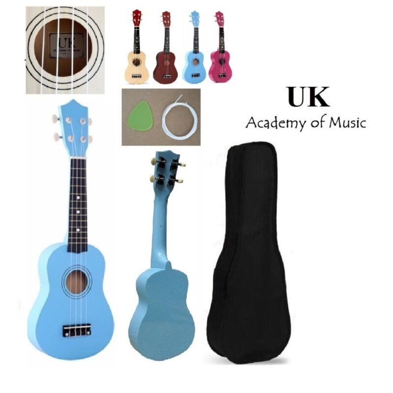 UK Ukulele Professional Wood Soprano 21 Inch With Free Ukulele Bag, Extra One Ukulele String and Ukulele Pick (Blue) Malaysia