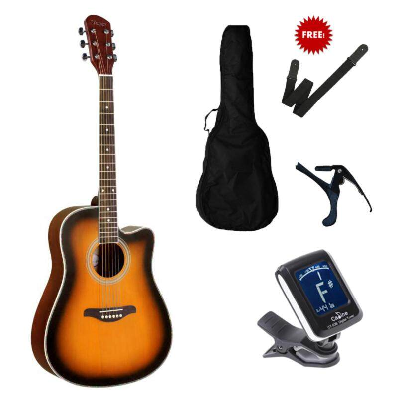 V Song Acoustic guitar Cut-Away  41 Inch Folk Guitar FOC non-padded bag+ clip tuner + guitar strap + guitar capo Malaysia