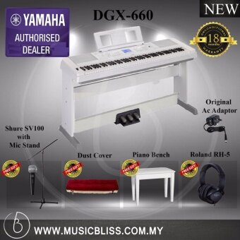 Harga Yamaha DGX-660 Digital Piano White Performing Package (DGX660 / DGX 660)