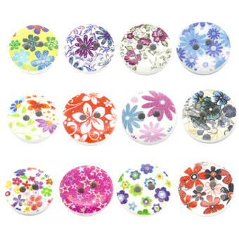 Harga Bluelans Wood Sewing Buttons set of 100 (Multicolor)