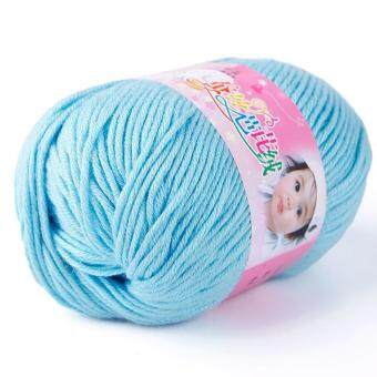 Harga BUYINCOINS High Quality Silk-Cotton Knitting Yarn 50g For WarmSweater Or Scarf (Blue)