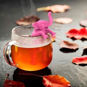 Cute Silicone Pink Elephant Tea Infuser Herbal Spice DiffuserFilter for Teacup