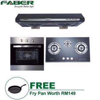 Harga FABER COOKER HOOD CLASSIC 90BK + FABER GLASS HOB FGH253/78BK +FABER OVEN FBO68SS*FOC FRY PAN