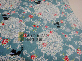 Han Shan EMI Korea rose lace black cat National pink blue handmade DIY curtain sofa Linen Fabric