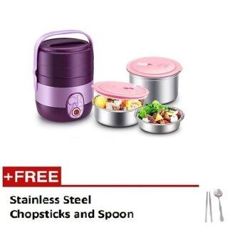 Harga Happy Home 3 layer Electric Lunch Box with free Chopstick and Spoon- Purple