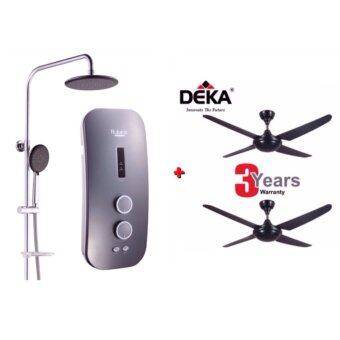 Harga (Package Offer) Rubine Rain Shower Water Heater c/w DC Inverter Silent Booster Pump RWH-SSE851D-RST(Silvered Titanium) + Kronos Deka F5-4P Ceiling Fan(4 blade) with Remote Control (Twin Pack)