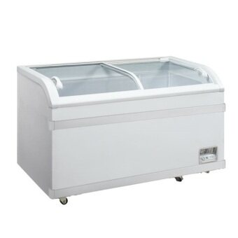 Harga Hitec HFZ-C388GC Glass Curve Top Chest Freezer 350L (White)
