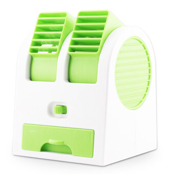 Harga Gracefulvara Mini Fan Cooling Portable Desktop Dual Bladeless Air Conditioner with USB Cable (Green)