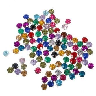 Harga MagiDeal 100pcs 10mm Diamante Crystals Acrylic Rhinestone Sewing Embellishment