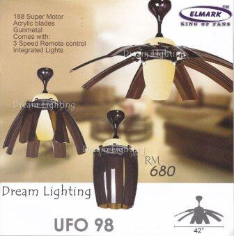 Harga UFO98 42-Inch 8-Blade Come With Integrated Light Remote Ceiling Fan Gunmetal (GM)