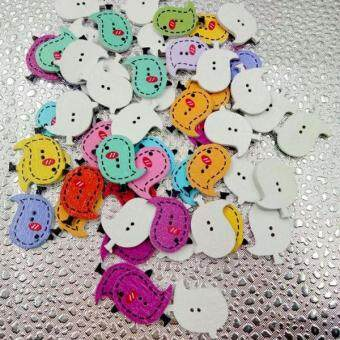 Harga MagiDeal 50Pcs Colorful Animals Wooden Buttons for Sewing and Crafts