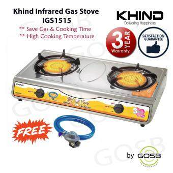 Harga Khind 2 Hobs Infrared Burner Gas Stove IGS1515 Smoke Free Strong Flame [FREE Gas Regulator Kit]